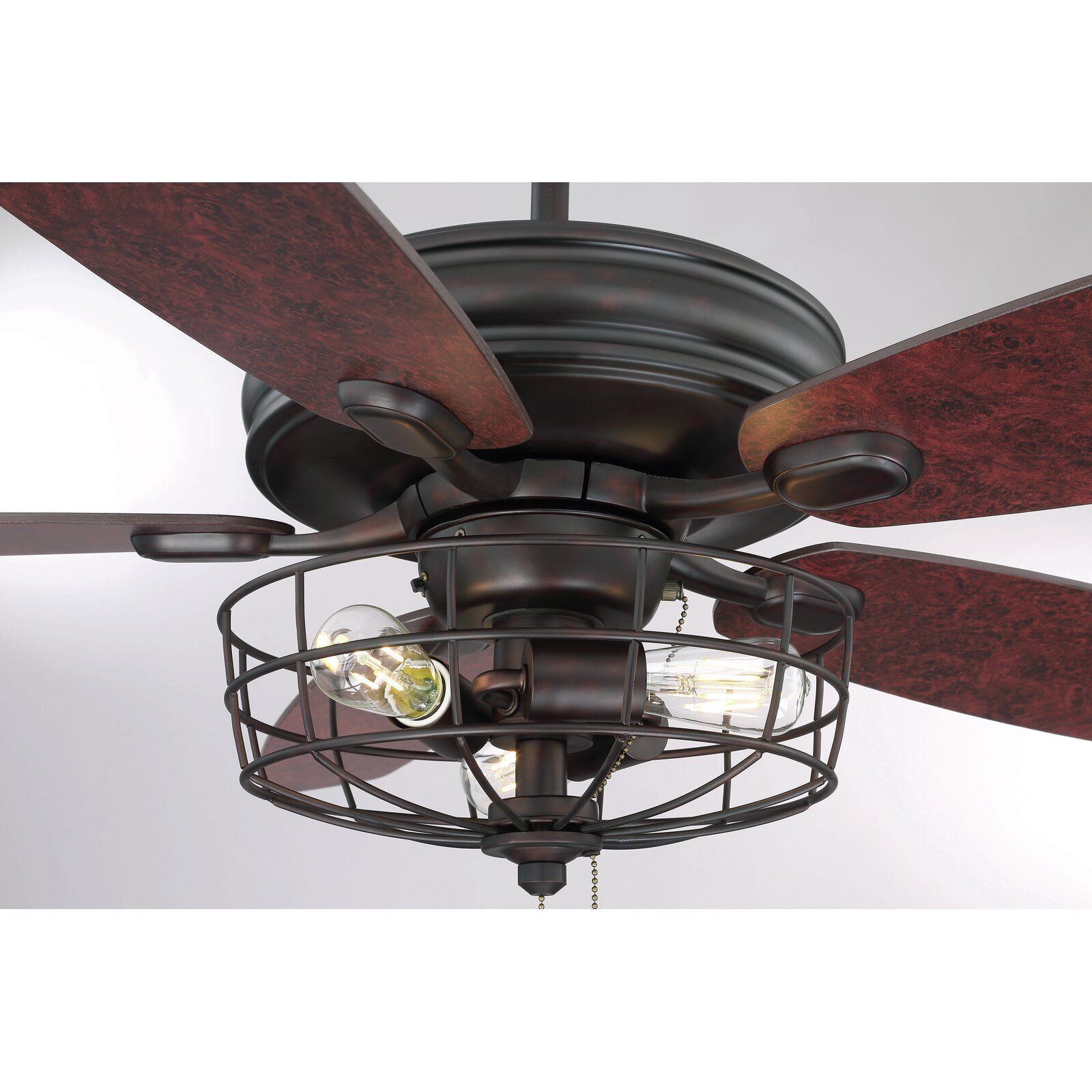52 Glenpool 5 Blade Caged Ceiling Fan With Pull Chain And Light Kit Included Caged Ceiling Fan Ceiling Fan Light Kit Ceiling Fan