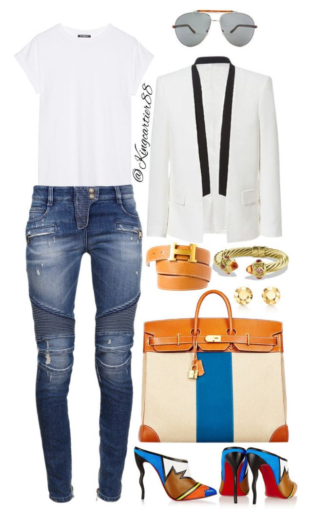 JetSet by jusgram88 on Polyvore featuring polyvore fashion style Balmain Christian Louboutin David Yurman Elsa Peretti Tom Ford Hermès