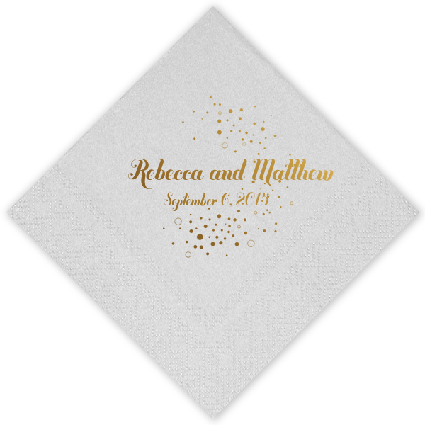 Custom Crystal White Cocktail Napkins with Shiny 18 Kt Gold on ForYourParty.com