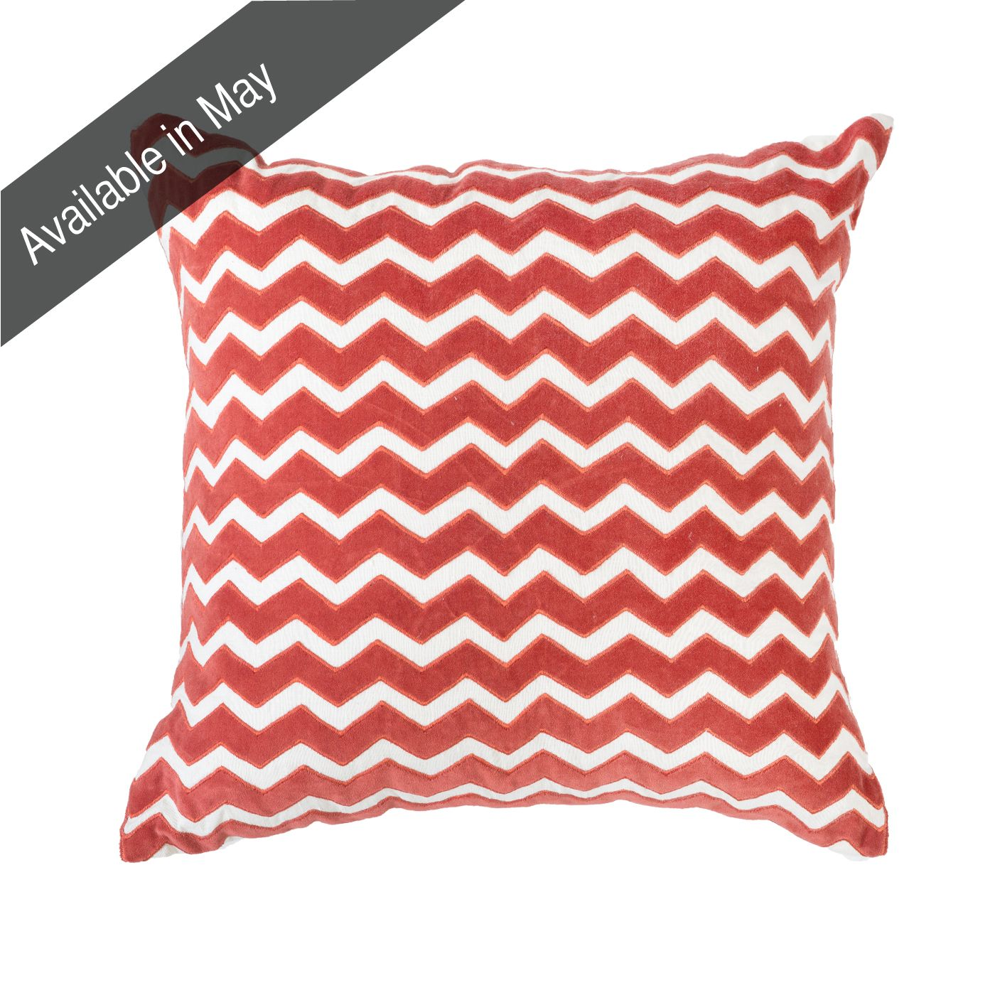 Zig Velvet Orange Medium cushion 50x50cm - Bandhini Homewear Design