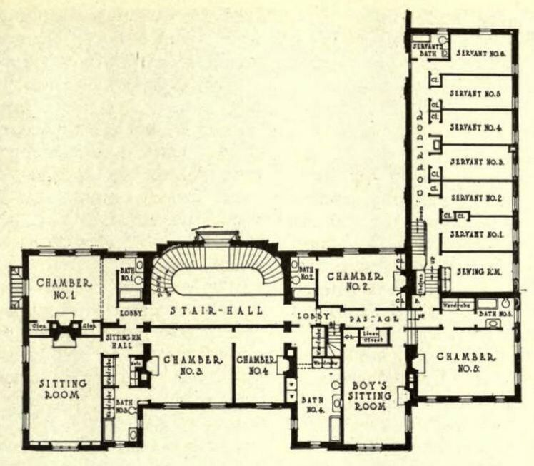 Phillip Sears Mansion 2nd Floor English Country House Plans Vintage House Plans Luxury House Plans