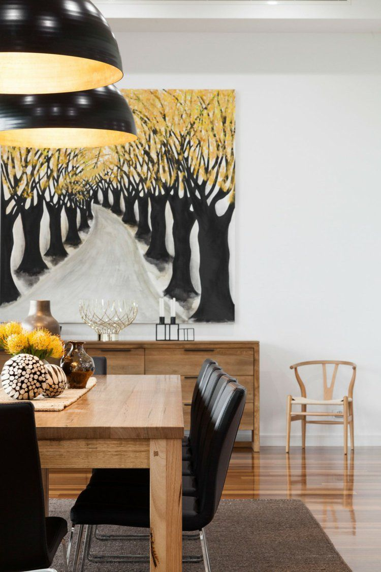 Deco Mur Salon Noir Et Blanc déco noir et blanc, table à manger en bois massif et accents