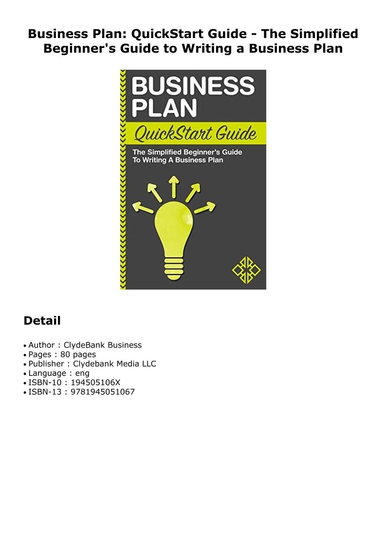 PDF Business Plan QuickStart Guide The Simplified