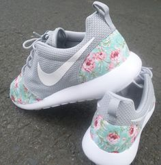 305a947ca Custom Nike Roshe Run Wolf Grey Floral by customkicksworld on Etsy
