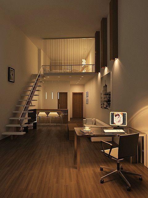 Loft moderno com escritório. Espaços pequenos, Ideias de