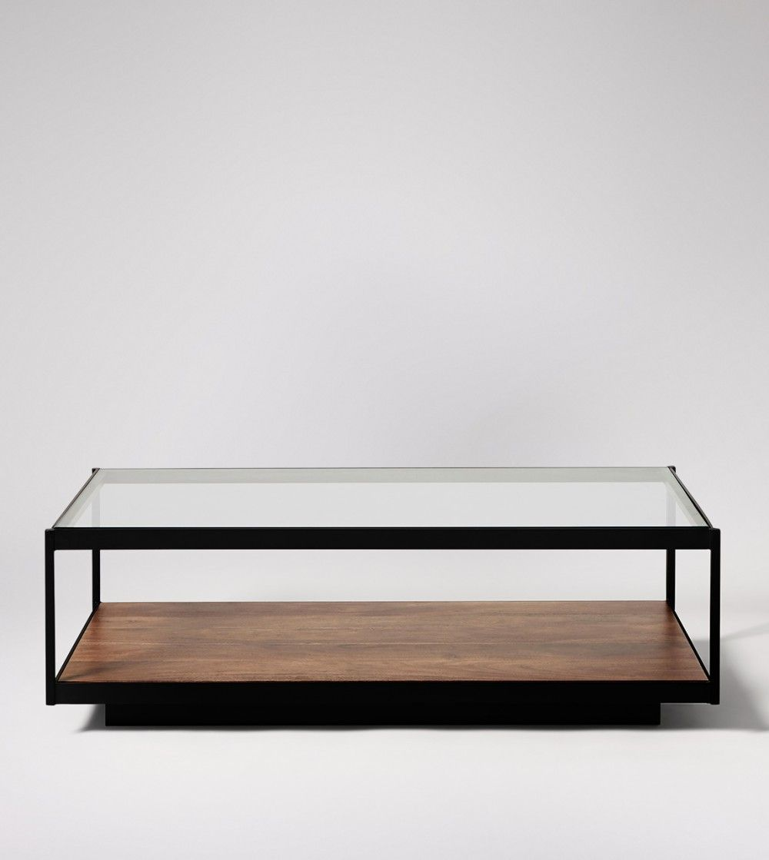 Lanza Acacia Glass Coffee Table Swoon Coffee Table Living Room Coffee Table Centre Table Living Room [ 1119 x 1000 Pixel ]