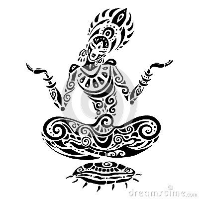 meditation lotuspose tattoo yoga handdrawn