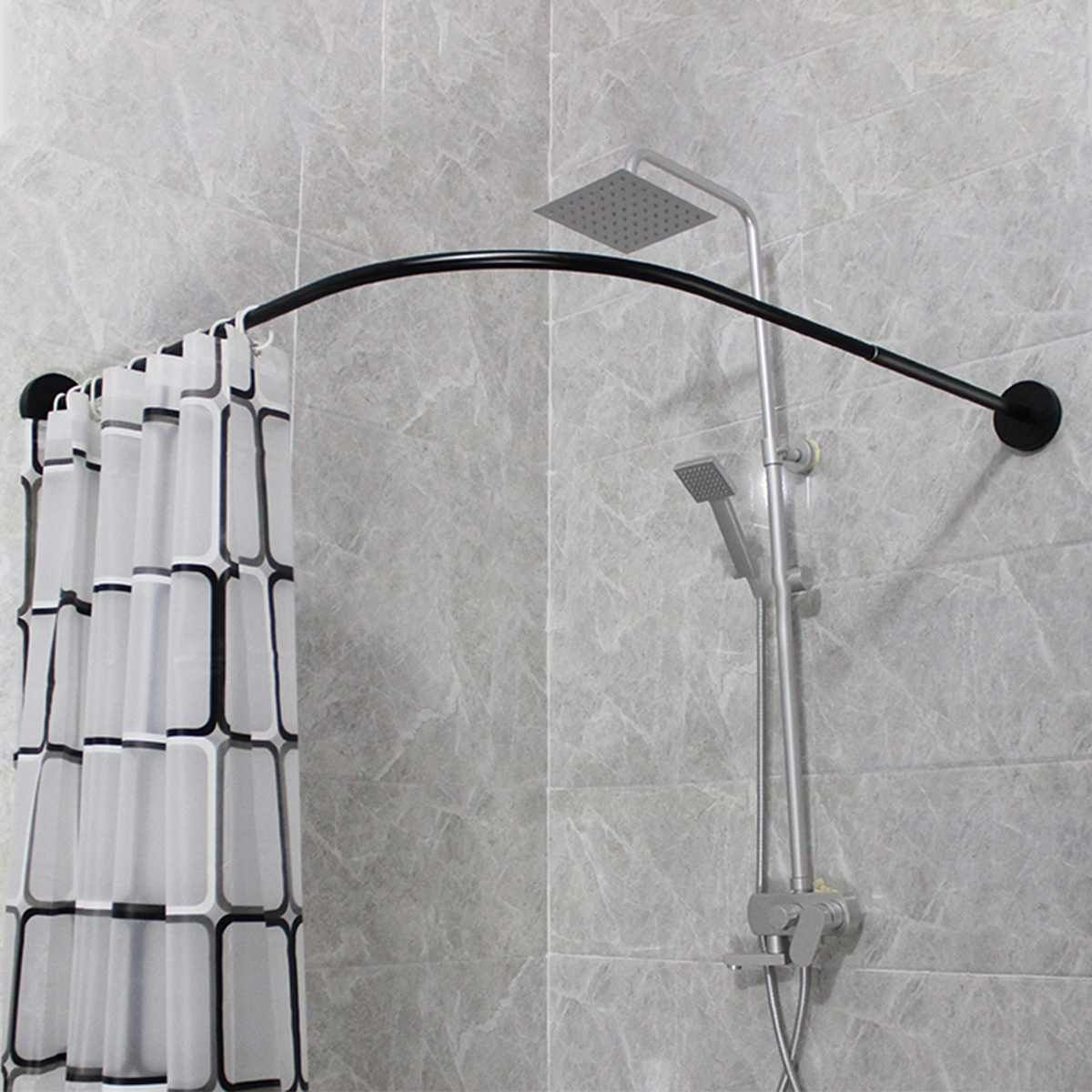 Modern Stainless Steel Extendable Corner Curved Shower Curtain Rod Corner Shower Curtain Rod Shower Curtain Rods Corner Shower