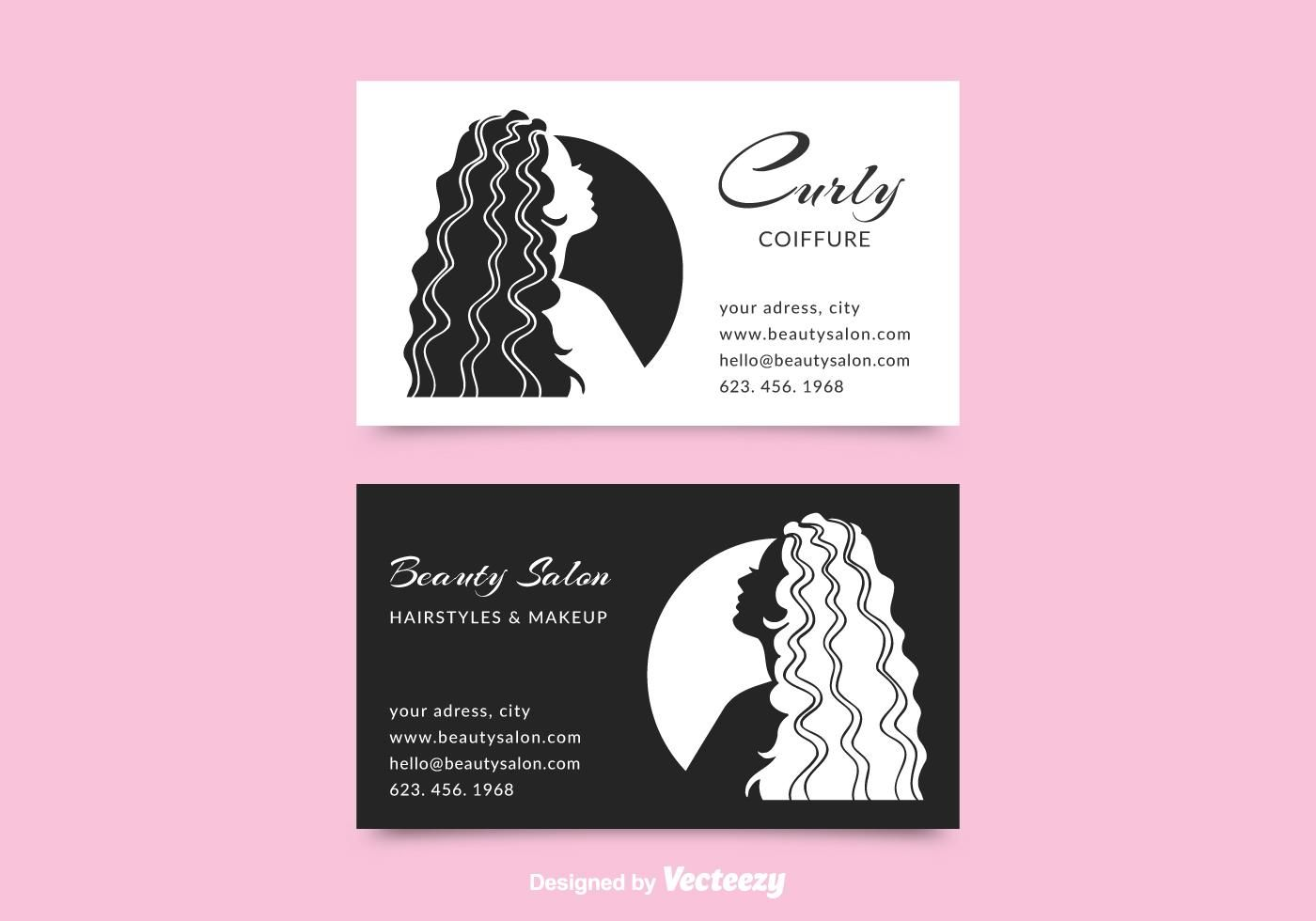 Free Coiffure Business Card Vector Beauty Salon Business Cards Salon Business Cards Free Business Card Templates