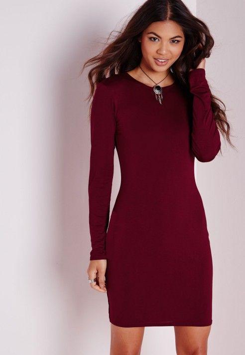 42293d02d222 Long Sleeve Jersey Bodycon Dress Burgundy - Dresses - Bodycon Dresses -  Missguided