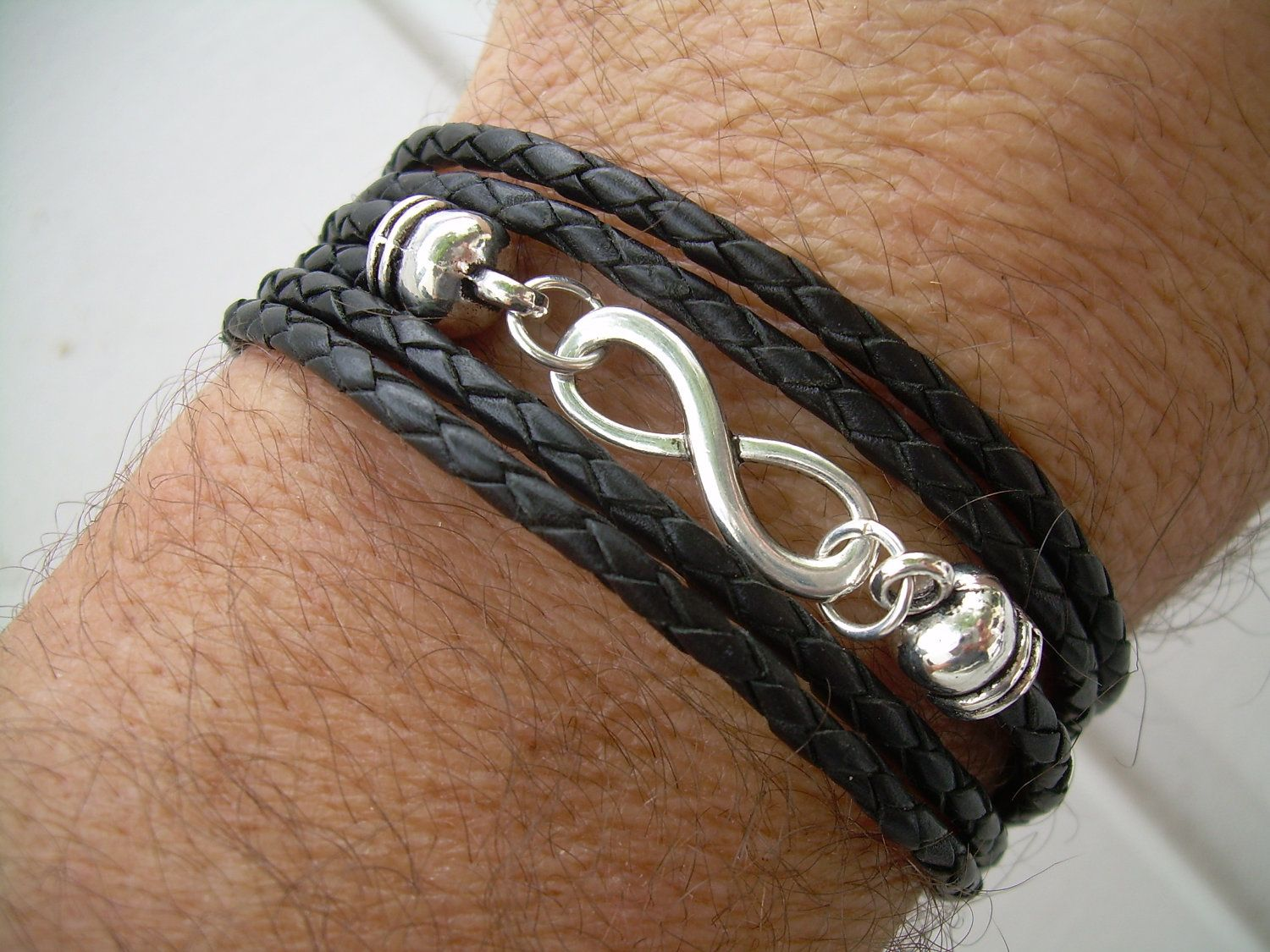 Black Braided Leather Bracelet, Inf