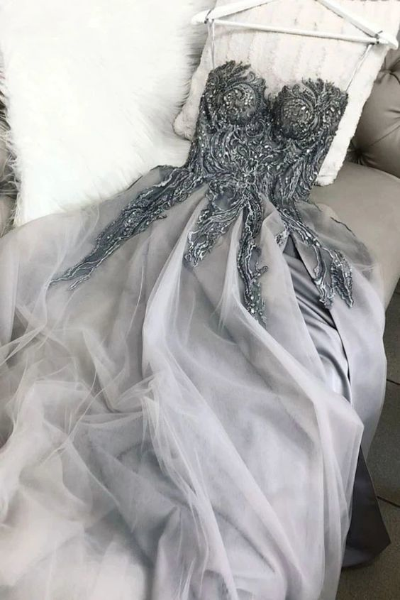 Light Gray Sweetheart Tulle Appliqued Prom Dress with Lace Up Back, A Line Evening Dress VP942