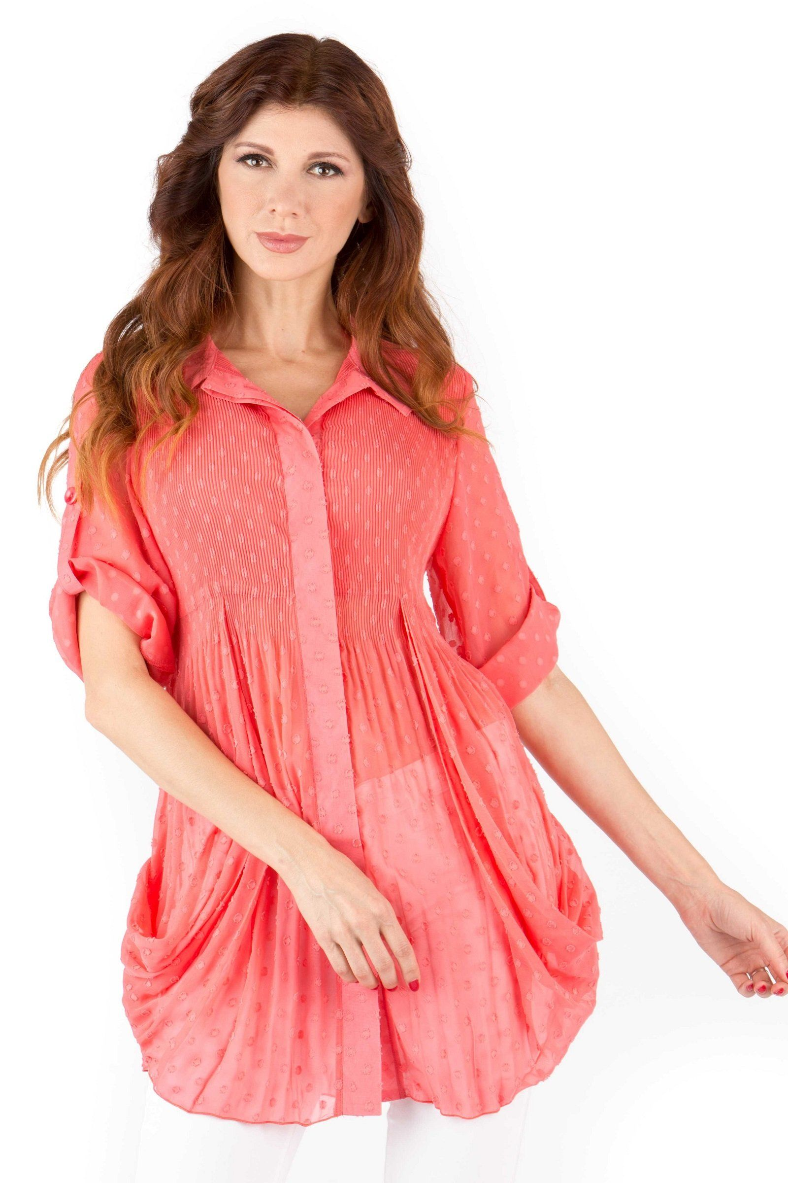 Front View Woman Wearing Light Coral Dotted Swiss Side