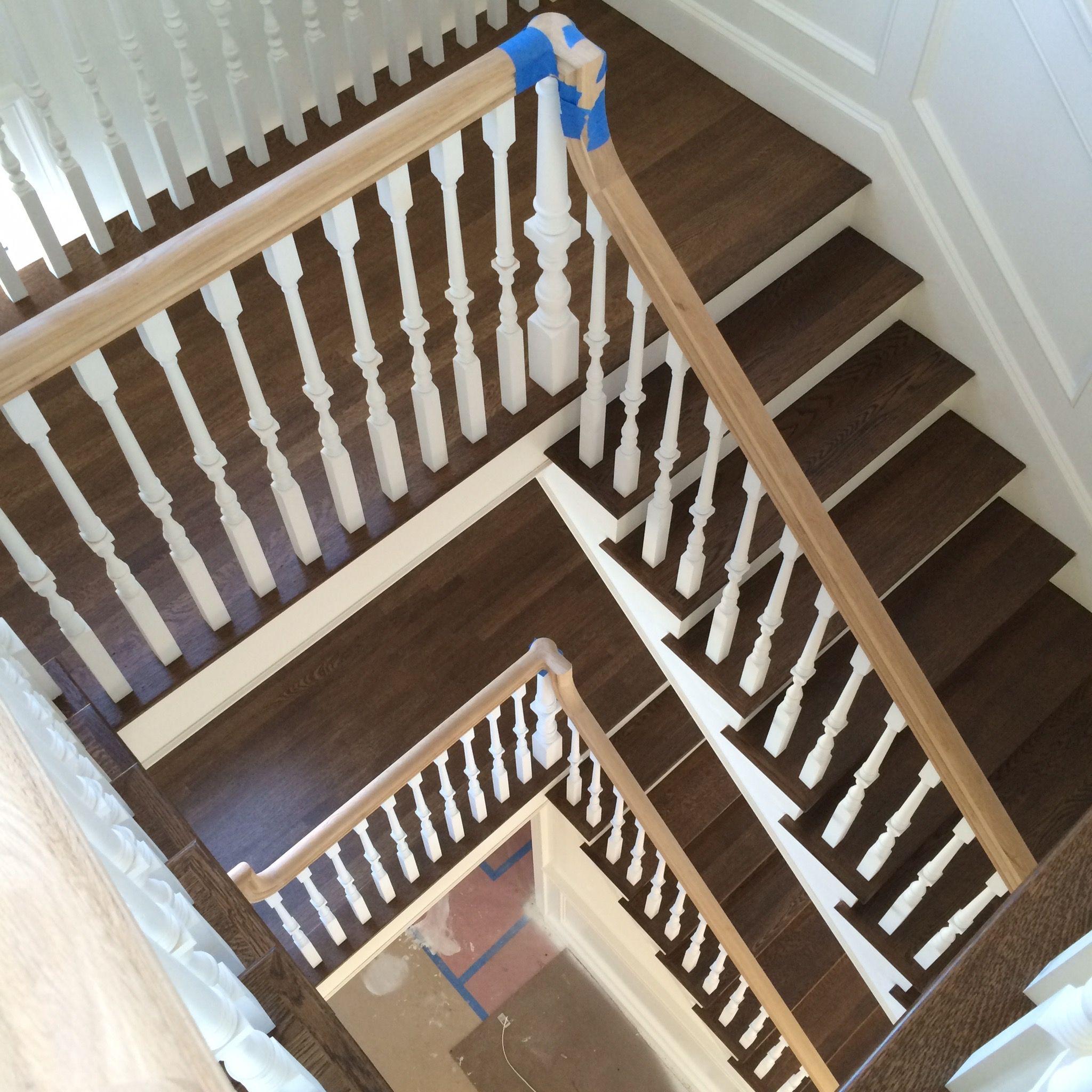 White oak hardwood stair treads, finished with Bona