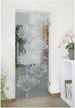 Transparent Glass Door With Frosted Flower Design Frosteddoor