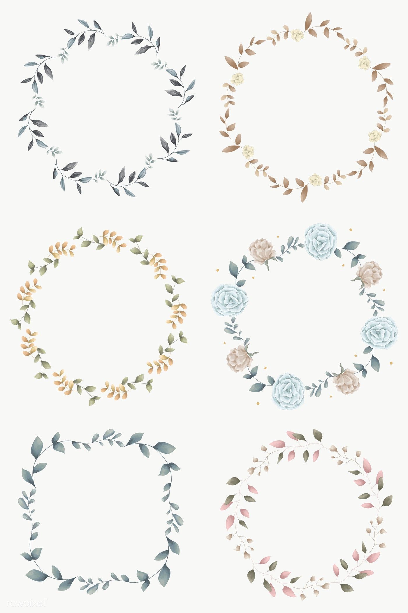 Download Premium Png Of Blank Leafy Frame Design Set Transparent Png In 2020 Frame Design Floral Wreath Watercolor Outline Designs