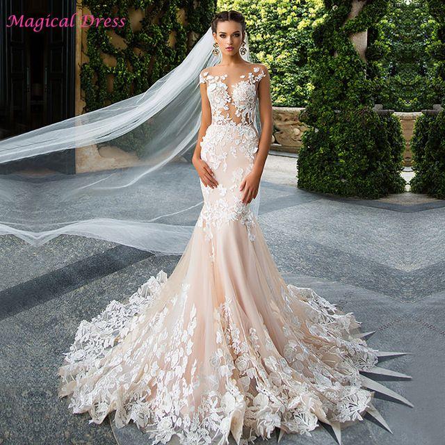 Luxury Champagne Mermaid Wedding Dresses Lace Backless Turkey ...