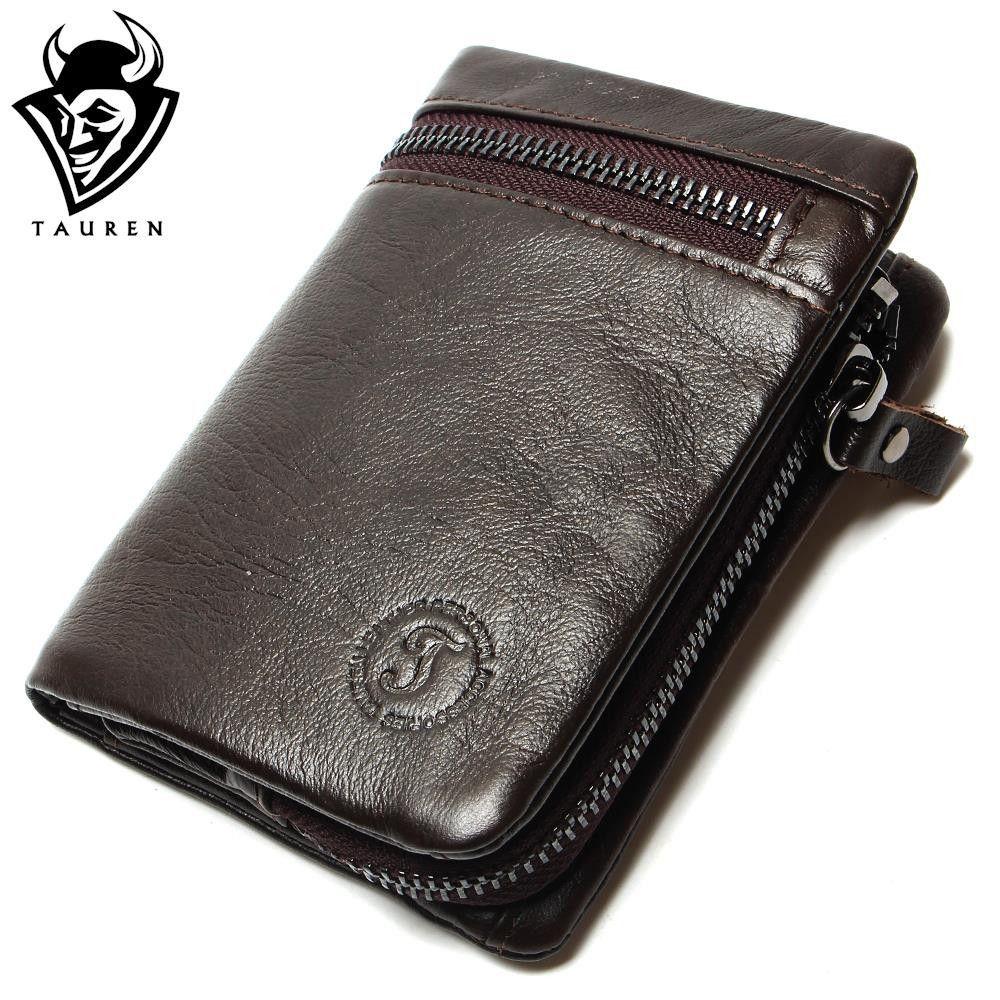 9c3ea2444b45 TAUREN Genuine Leather Mens Wallets Brand Logo Zipper Design Short ...