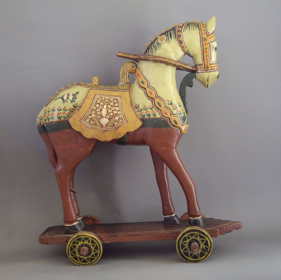 Hand Carved And Painted Wooden Horse On