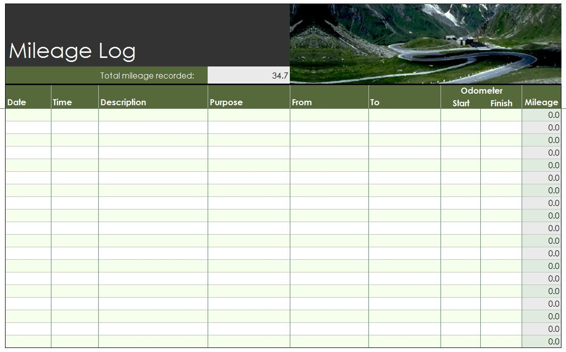 Free Mileage Log Template | Work | Pinterest | Template, Free ...