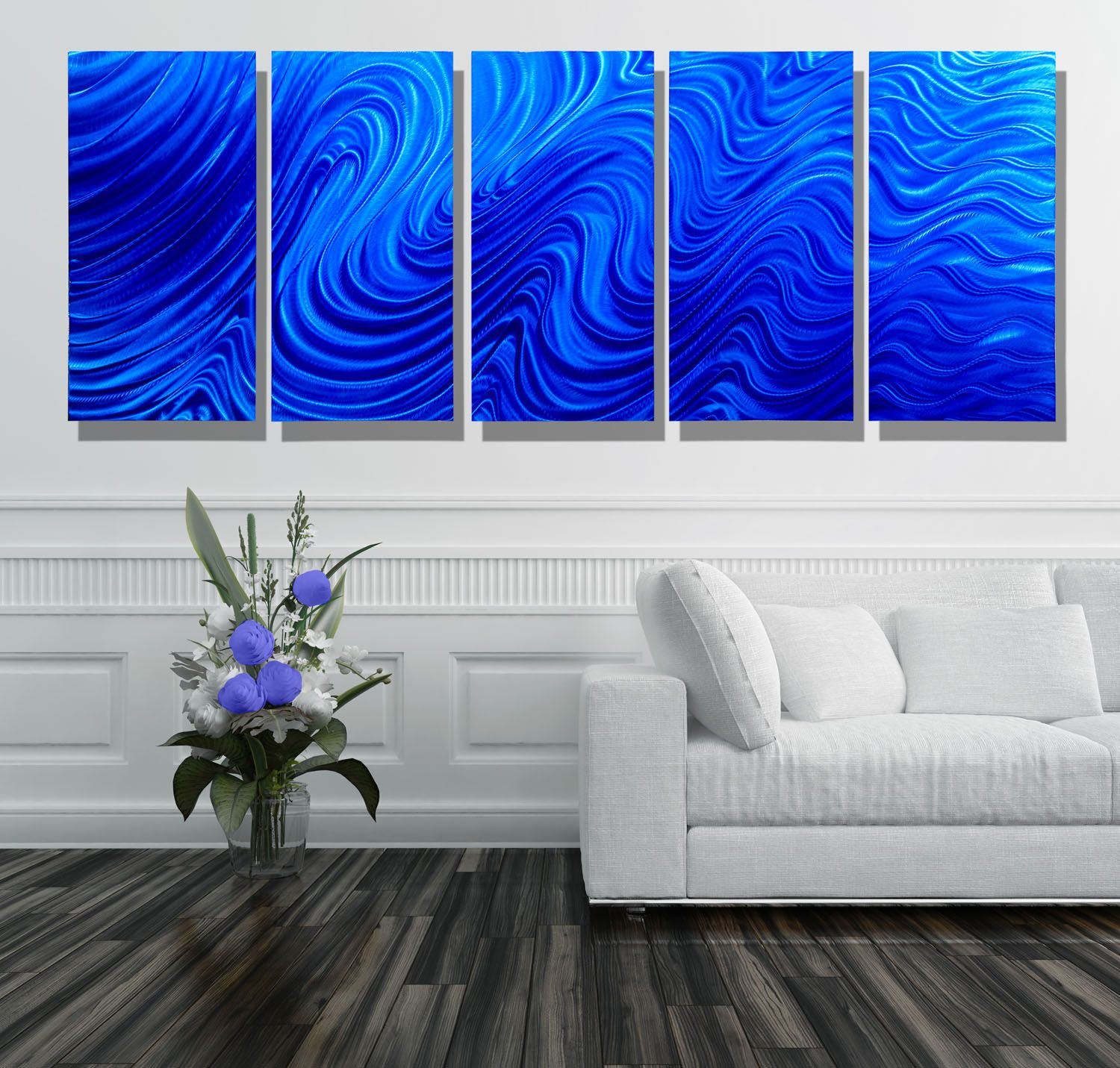 Blue Hypnotic Sands XL - Blue Abstract Metal Wall Art by ...
