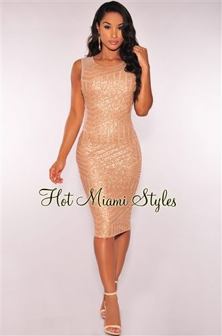 b609ebf7f3ef35 Rose Gold Sequins Mesh Sides Sleeveless Dress