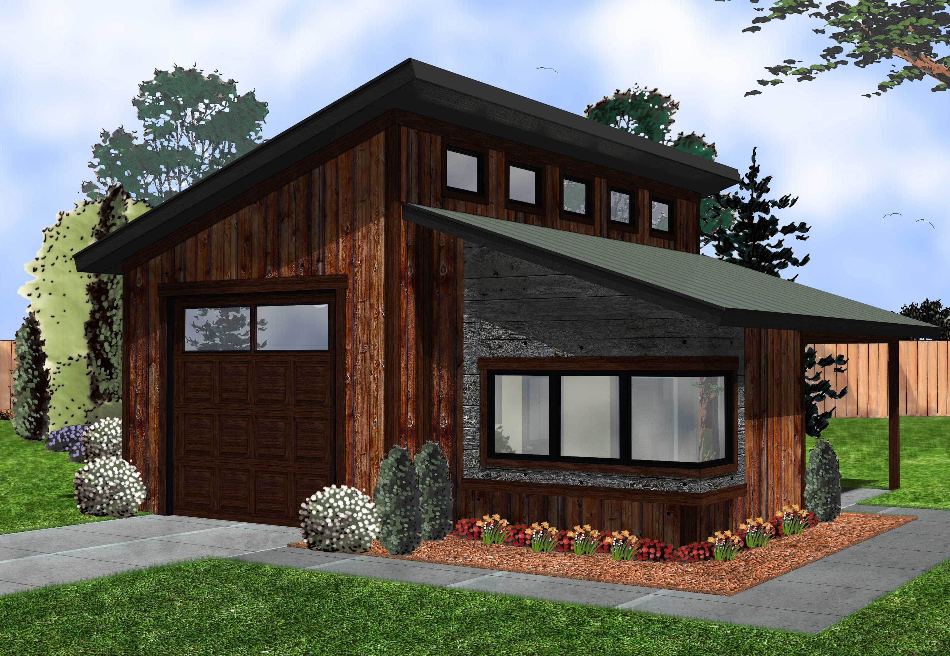 Plan 62574dj Modern Garage With Shop Modern Garage Garage Shop Plans Garage Workshop Plans