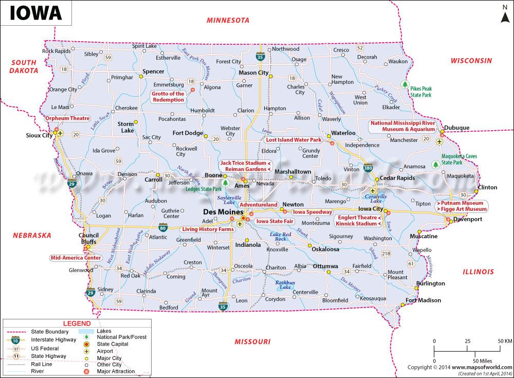 Iowa Map Usa Iowa map showing the major travel attractions including cities