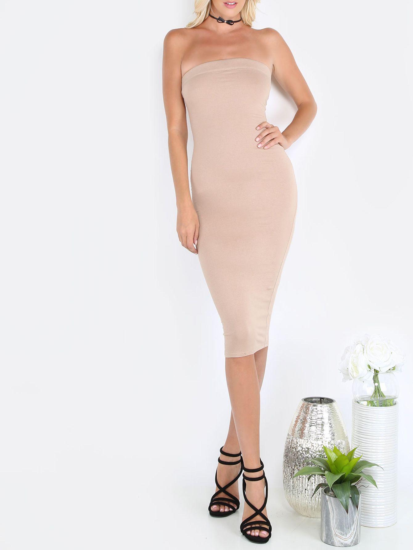 1a621d0af2 Dark Nude Tube Sleeveless Sheath Midi Dress -Nude Elegant Rayon Strapless  Sleeveless Sheath Midi Plain