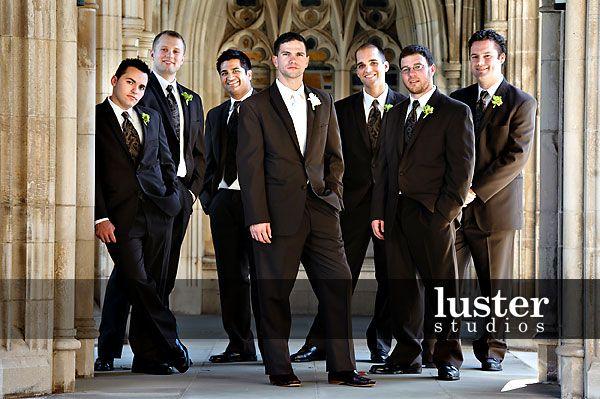 Brown Tux Groomsmen Wedding Suits