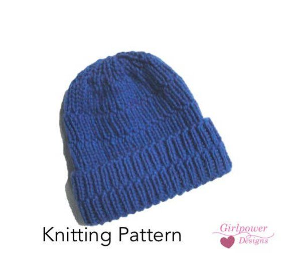 d39130f52ee Chunky Ribbed Hat Knitting Pattern Easy Knit Beanie Hat Cap ...