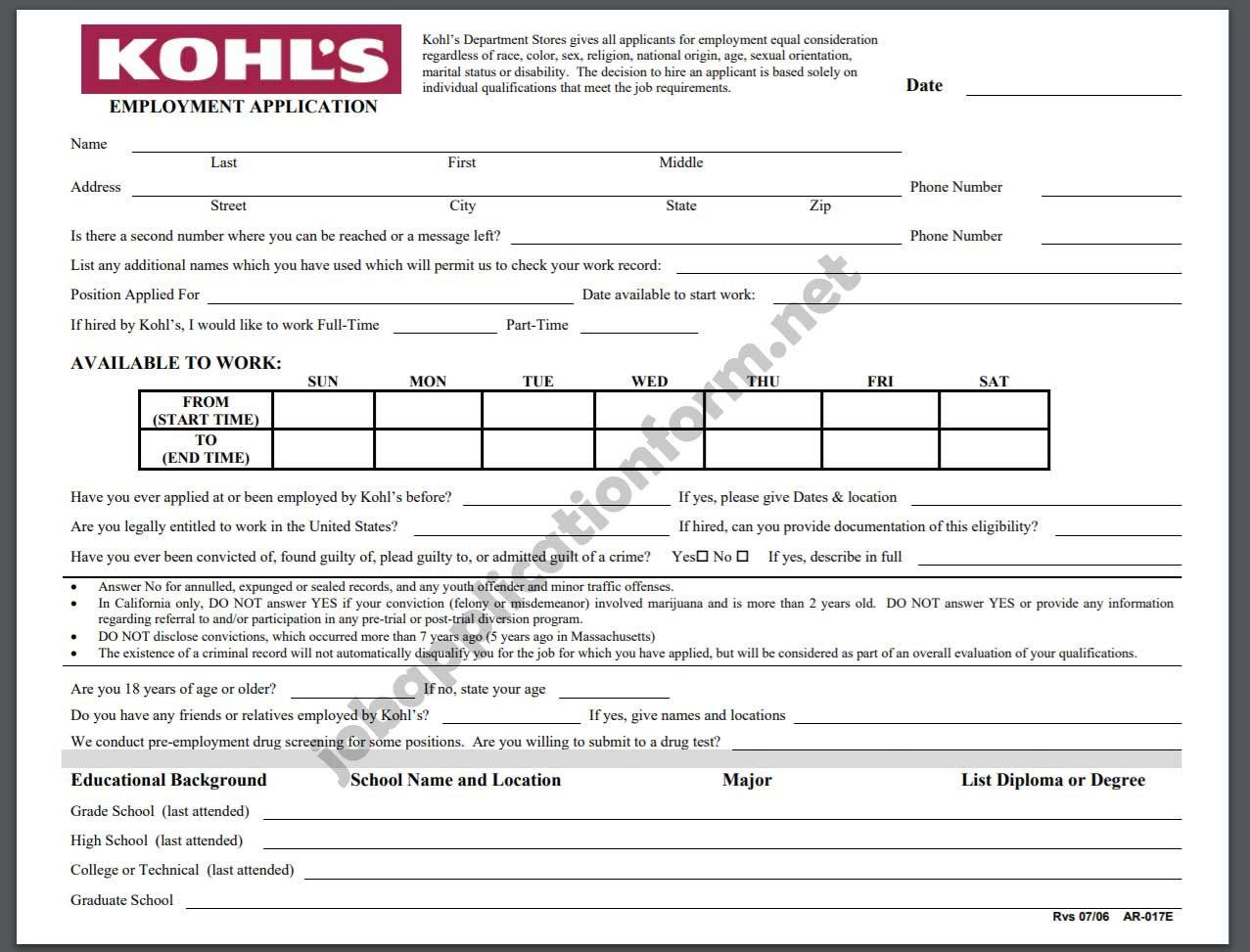 Kohl's Application Online PDF & 2020