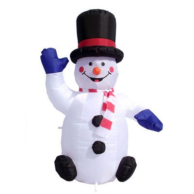 Christmas Inflatables 4\u0027 Inflatable Illuminated Sitting Snowman - outside christmas decorations sale