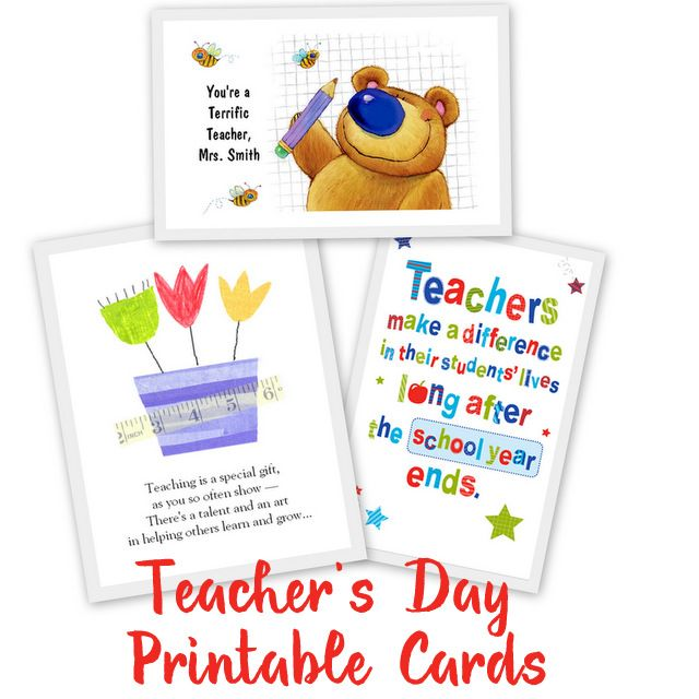 20 Awesome Teachers' Day card Ideas with Free Printables ...