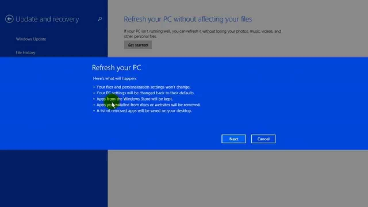 how to restore windows 8 to factory