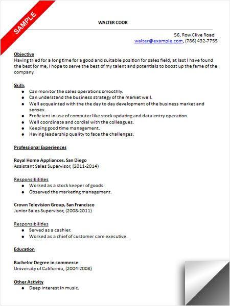 Sales Supervisor Resume Sample Teacher Resume Special Education