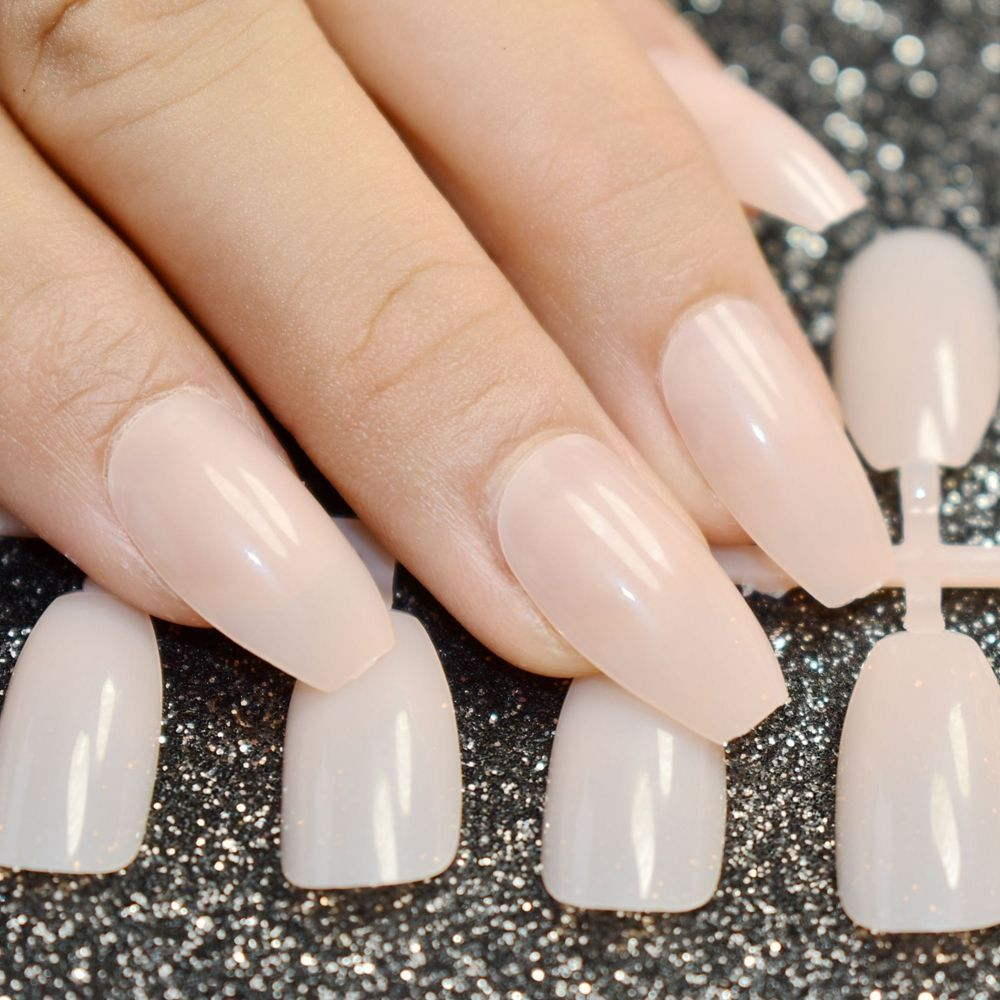 24pcs Natural Nude Coffin Nails False Nail Full Cover Flat Shape ...