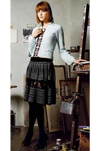 RARE Moth Anthropologie Fair Isle Bird Alpaca Wool Black Sweater ...