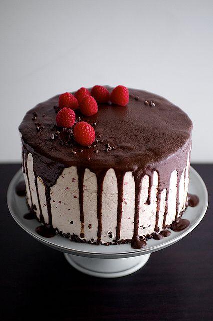 Dark Chocolate Raspberry Buttercream Cake with Ganache Drizzle