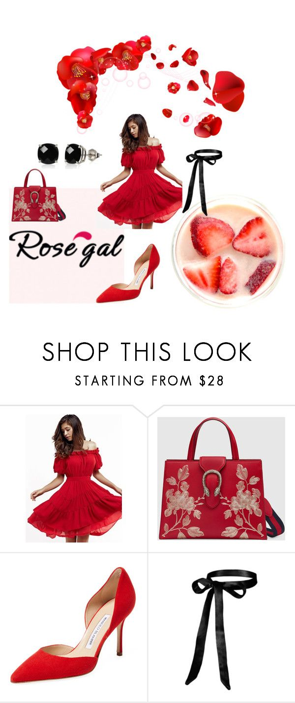 """""""Strawberry"""" by anelia-georgieva ❤ liked on Polyvore featuring Gucci, Manolo Blahnik and Belk & Co."""