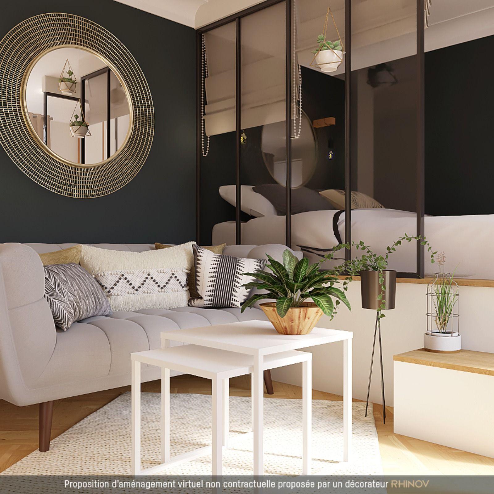 Lit Sur Estrade Studio Astuce Rangement Meuble D Angle Astuces Deco