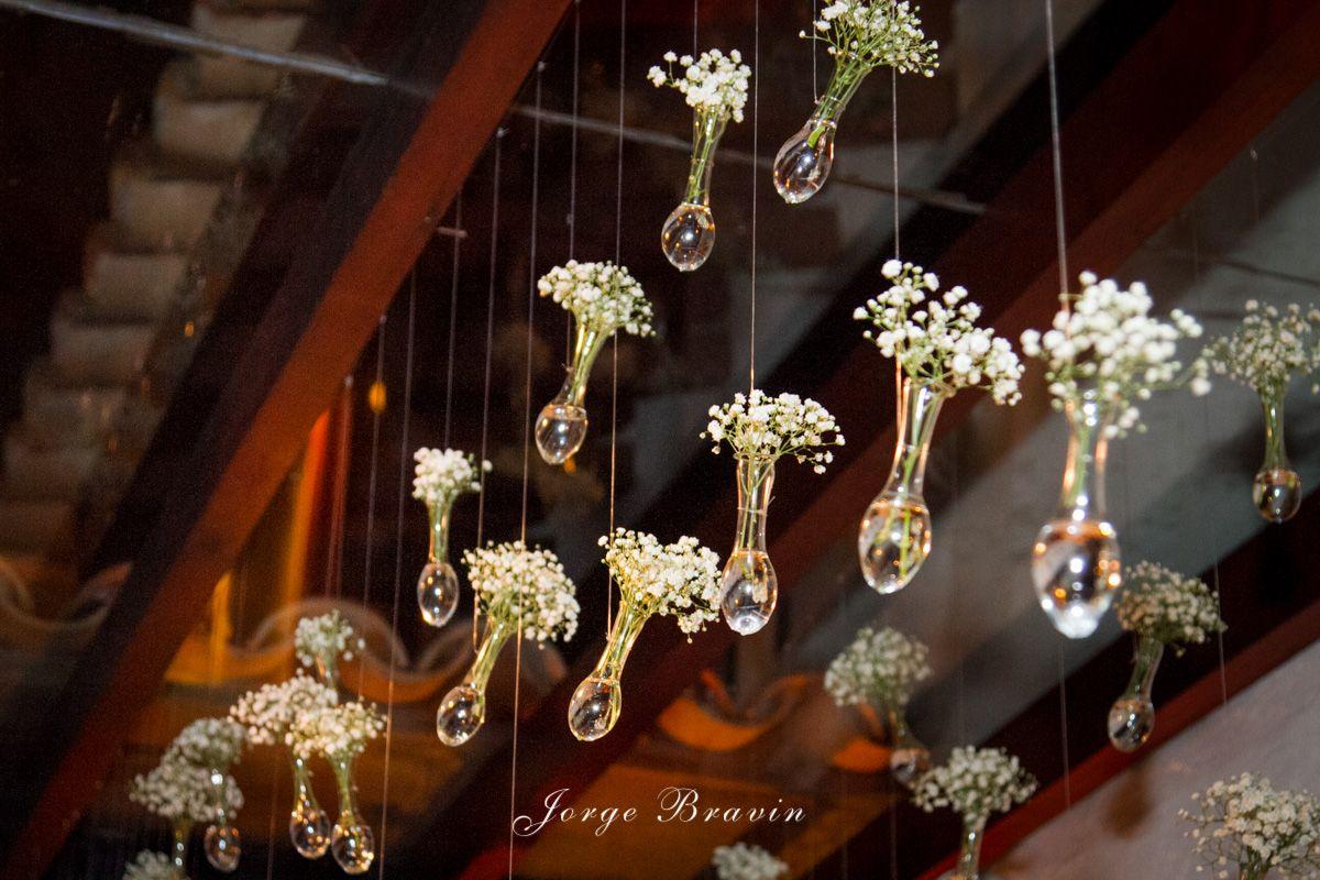 Decoração aérea - mini vidros com gipsophila Decoração by WandaZ
