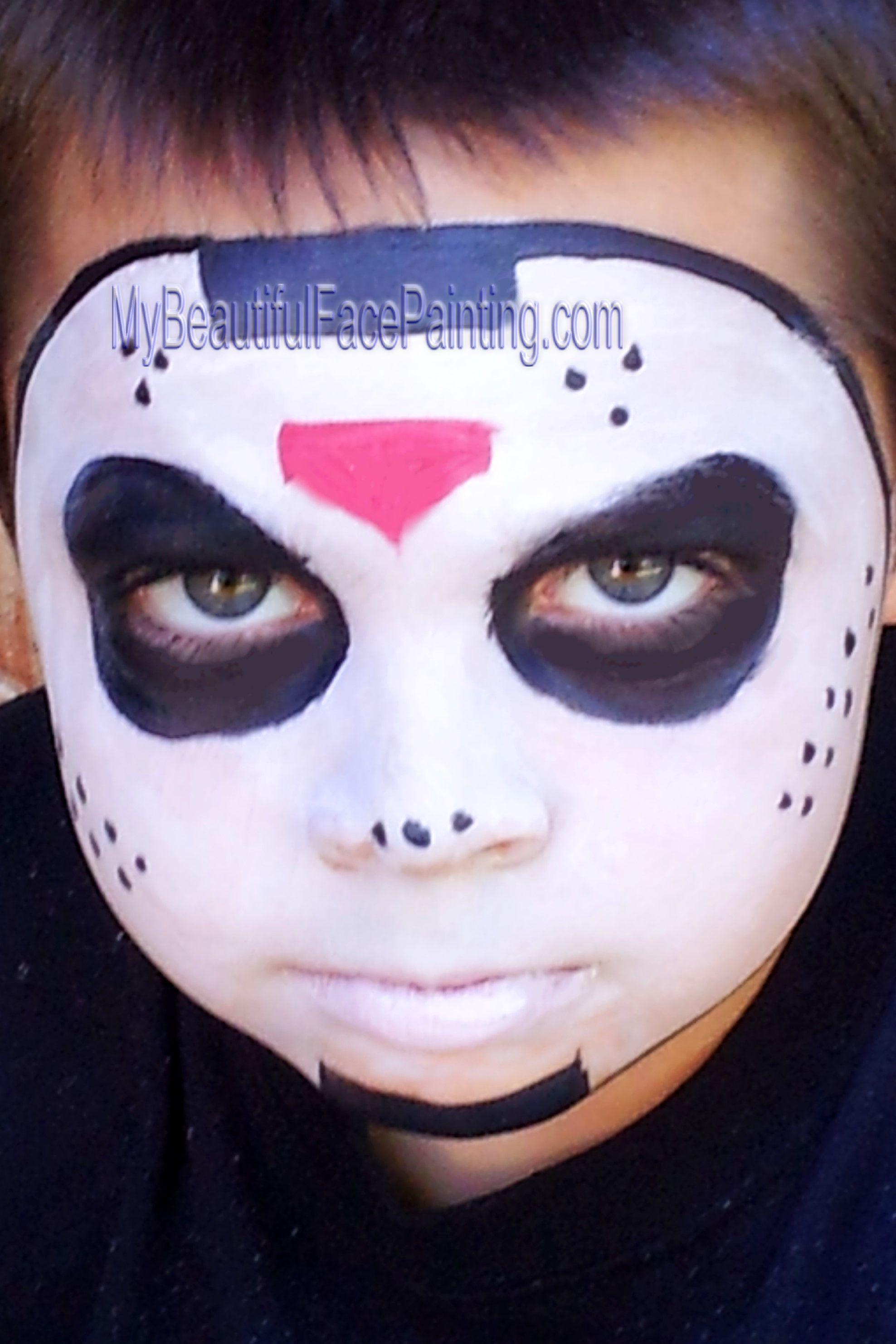 Jason Hockey mask face paint. Creepy and fun boy face paint ...