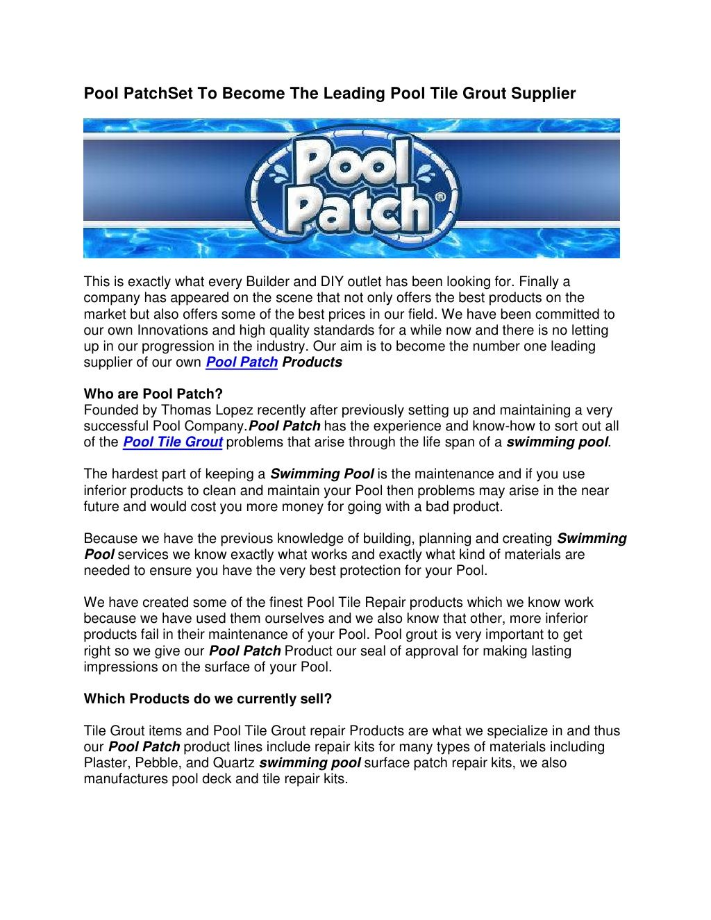 Pool Patch Set To Become The Leading Pool Tile Grout Supplier | pool ...