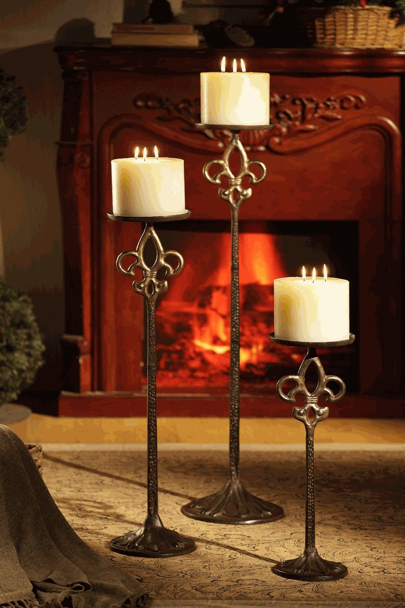 Fleur de lis floor candle holders for short pillar candles ᘡղbᘠ
