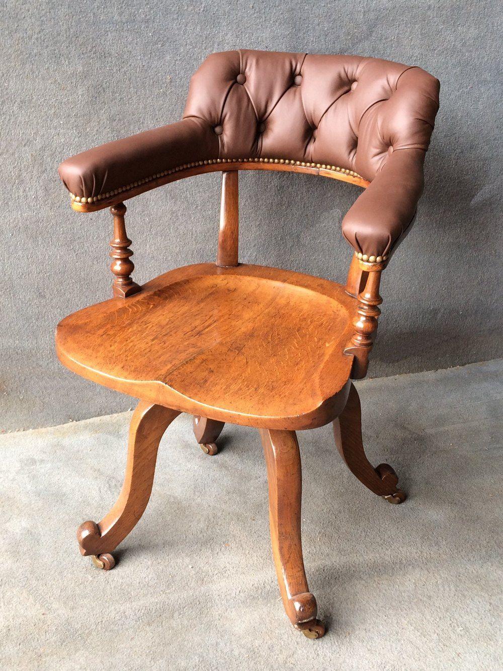 Buttoned back oak revolving desk chair antiques atlas