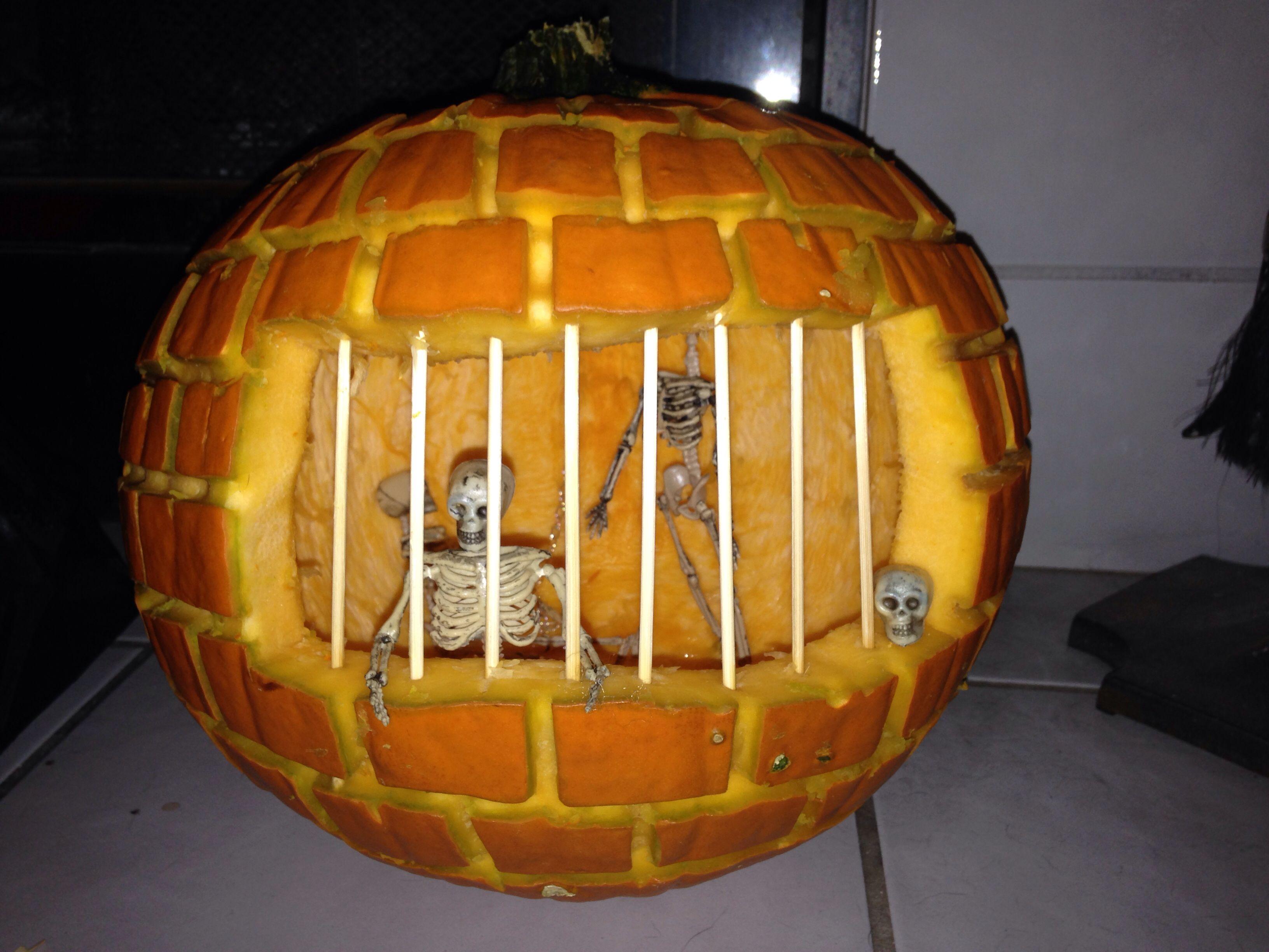 Pumpkin carving - Skeleton jailhouse | Pumpkins! | Pinterest ...