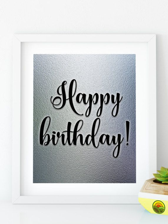 instant download happy birthday silver birthday sign birthday party