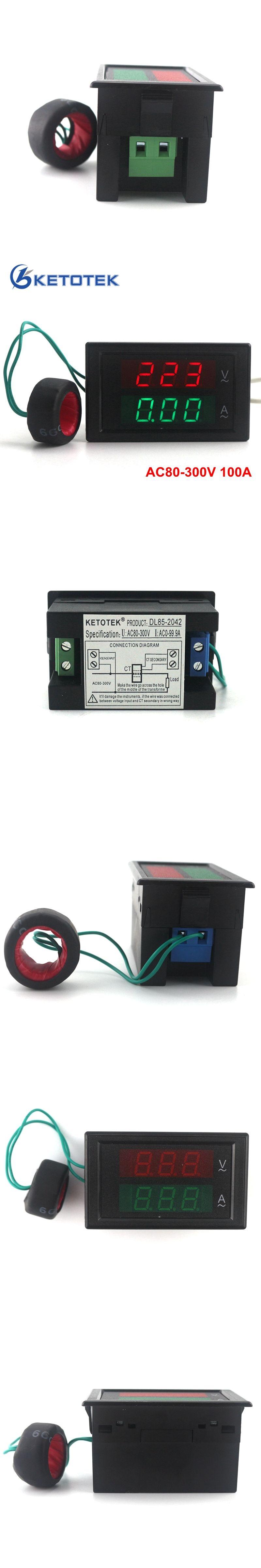 Ac80 300v Ac 0 100a Led Volt Amp Meter Voltage Current Digital Voltmeter Ammeter Wiring Diagram Ampere