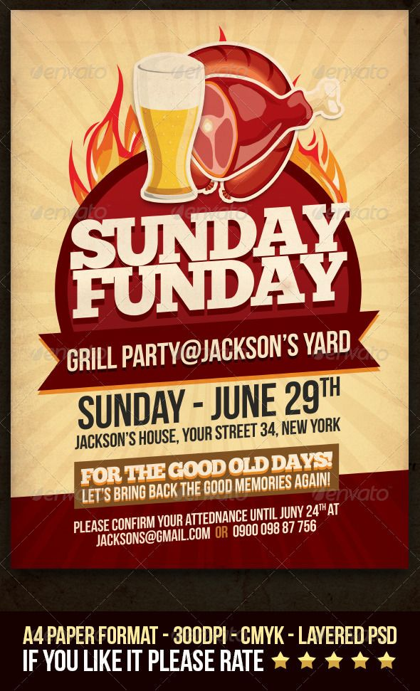 Weekend/Sunday BBQ Flyer | Restaurant, Backyards and Bbq party